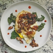 Sautéed Kale w/Fried Egg, Crispy Chicken Skins & Sriracha